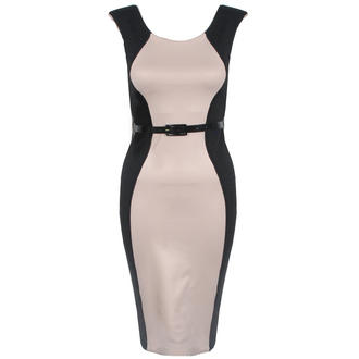 View Item Beige Belted Contrast Bodycon Curve Dress
